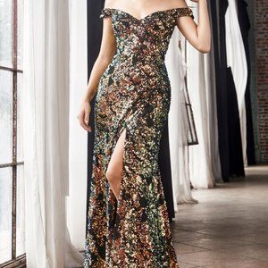 IRIDESCENT OFF THE SHOULDER SEQUIN PROM GOWN CF348